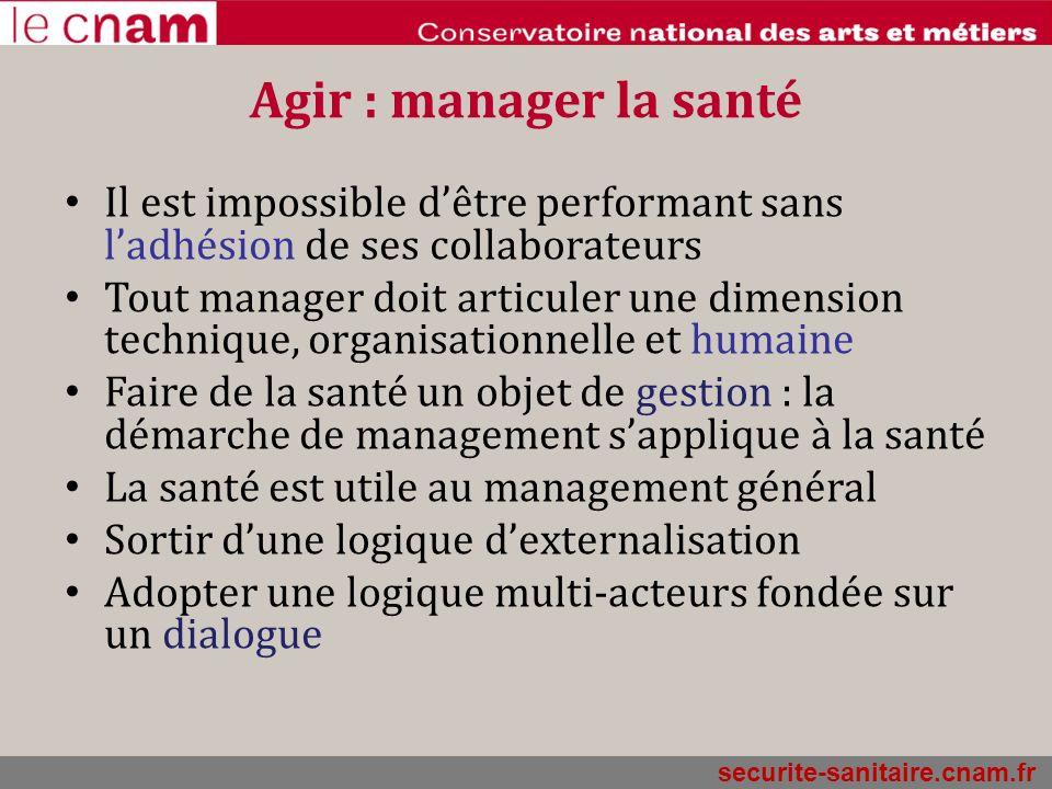 Agir : manager la santé Il est impossible dêtre performant sans ladhésion de ses collaborateurs Tout manager doit articuler une dimension technique, o