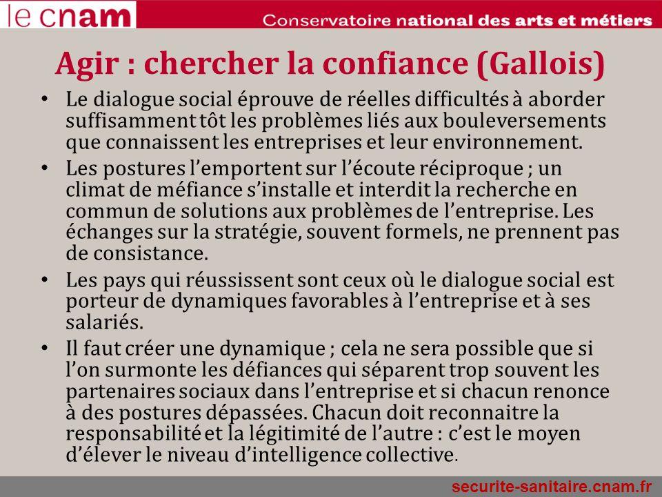 securite-sanitaire.cnam.fr Agir : chercher la confiance (Gallois) Le dialogue social éprouve de réelles difficultés à aborder suffisamment tôt les pro