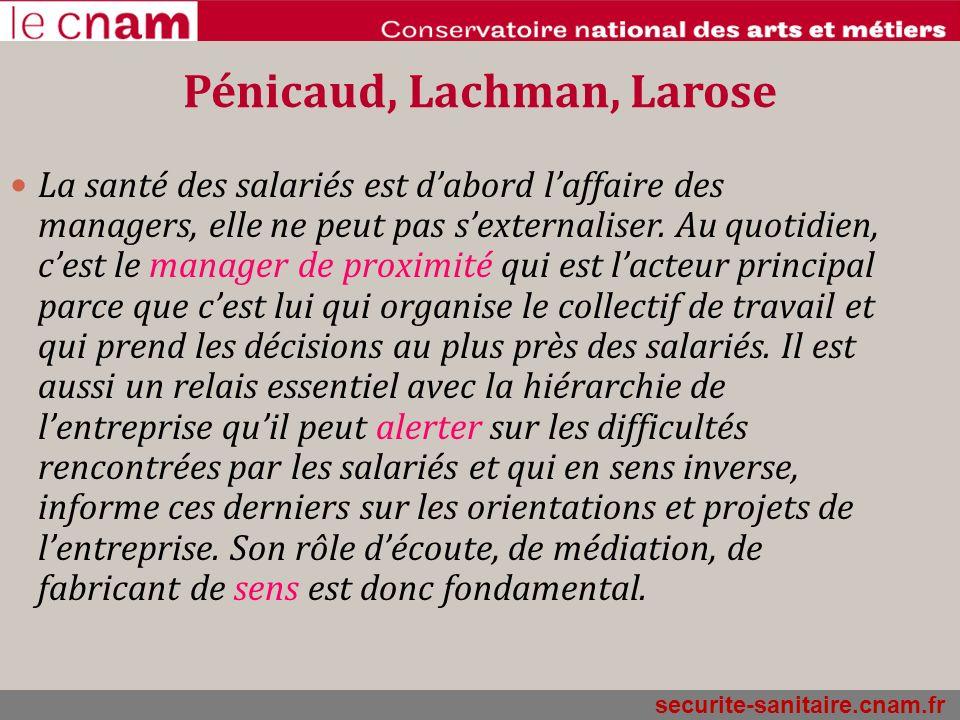 securite-sanitaire.cnam.fr Pénicaud, Lachman, Larose La santé des salariés est dabord laffaire des managers, elle ne peut pas sexternaliser. Au quotid