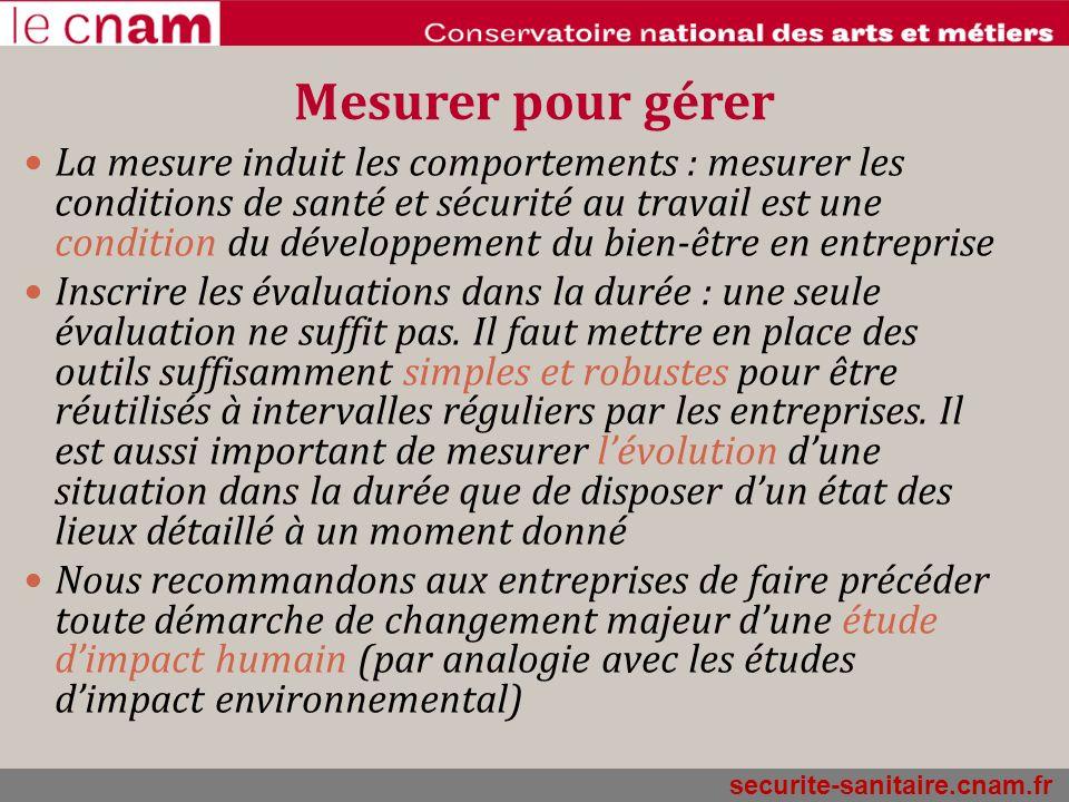 securite-sanitaire.cnam.fr Mesurer pour gérer La mesure induit les comportements : mesurer les conditions de santé et sécurité au travail est une cond