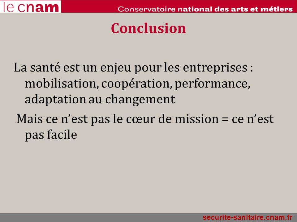 securite-sanitaire.cnam.fr Conclusion La santé est un enjeu pour les entreprises : mobilisation, coopération, performance, adaptation au changement Ma
