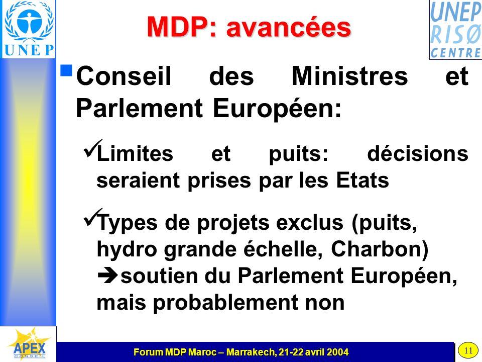 Forum MDP Maroc – Marrakech, 21-22 avril 2004 11 MDP: avancées Conseil des Ministres et Parlement Européen: Limites et puits: décisions seraient prises par les Etats Types de projets exclus (puits, hydro grande échelle, Charbon) soutien du Parlement Européen, mais probablement non