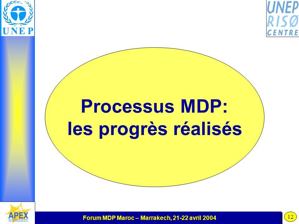 Forum MDP Maroc – Marrakech, 21-22 avril 2004 12 Processus MDP: les progrès réalisés