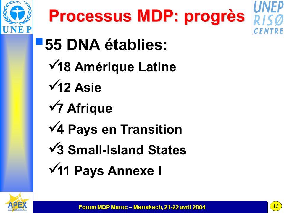 Forum MDP Maroc – Marrakech, 21-22 avril 2004 13 Processus MDP: progrès 55 DNA établies: 18 Amérique Latine 12 Asie 7 Afrique 4 Pays en Transition 3 Small-Island States 11 Pays Annexe I