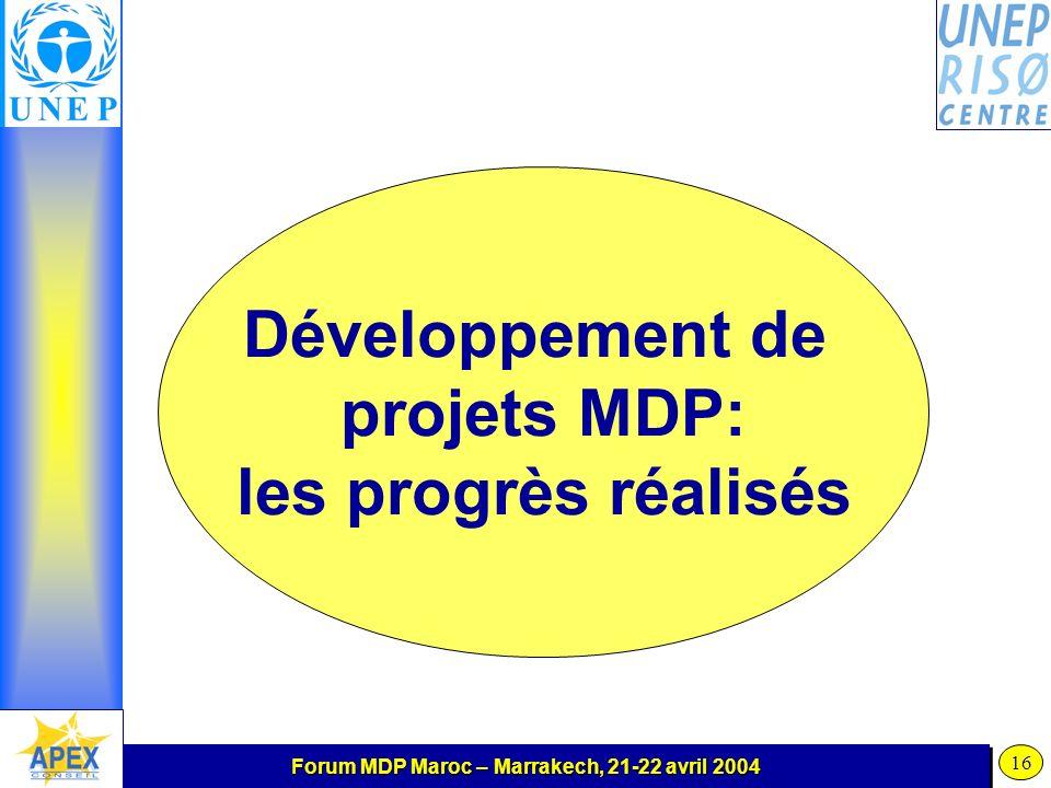 Forum MDP Maroc – Marrakech, 21-22 avril 2004 16 Développement de projets MDP: les progrès réalisés