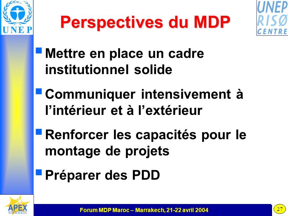 Forum MDP Maroc – Marrakech, 21-22 avril 2004 27 Perspectives du MDP Mettre en place un cadre institutionnel solide Communiquer intensivement à lintérieur et à lextérieur Renforcer les capacités pour le montage de projets Préparer des PDD