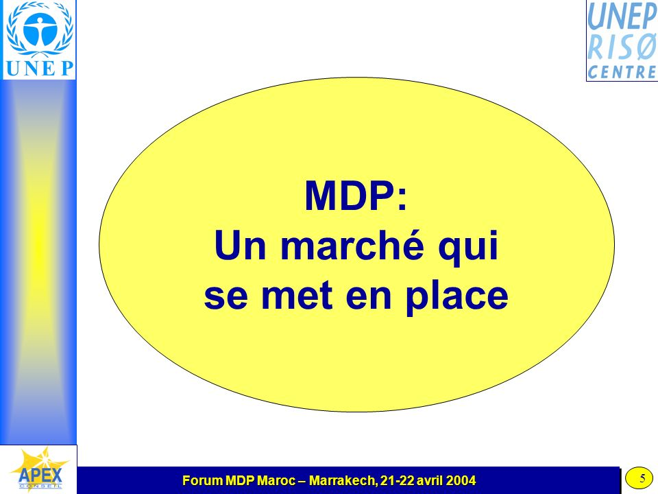 Forum MDP Maroc – Marrakech, 21-22 avril 2004 5 MDP: Un marché qui se met en place