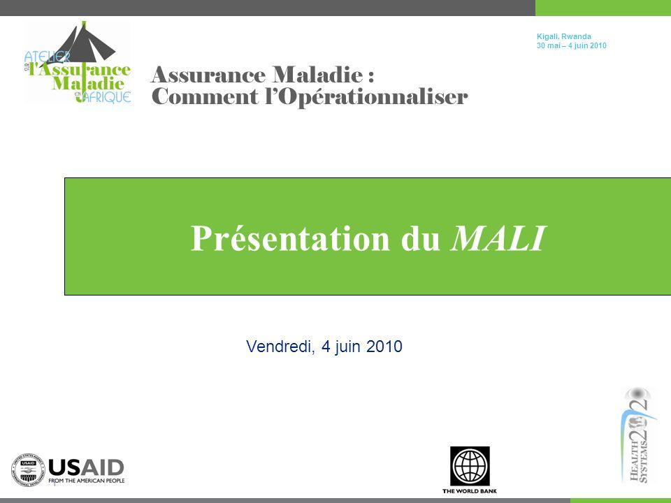 Click to edit Master title style Kigali, Rwanda 30 mai – 4 juin 2010 1 Présentation du MALI Assurance Maladie : Comment lOpérationnaliser Vendredi, 4 juin 2010