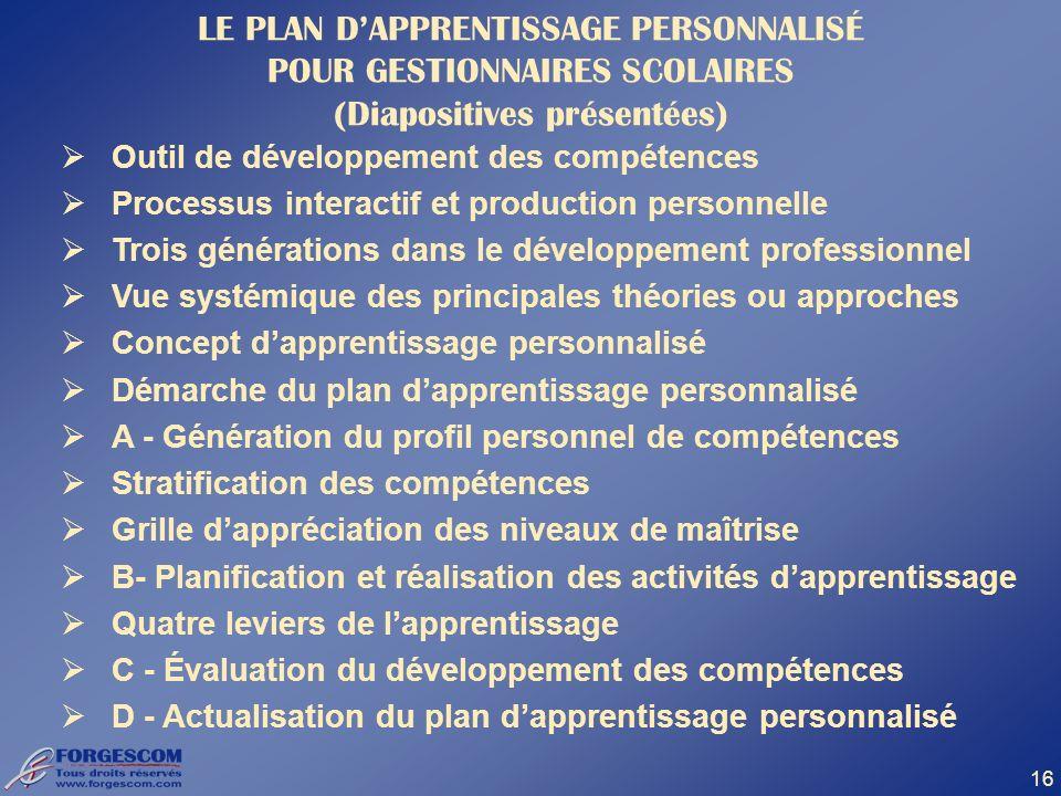 16 LE PLAN DAPPRENTISSAGE PERSONNALISÉ POUR GESTIONNAIRES SCOLAIRES (Diapositives présentées) Outil de développement des compétences Processus interac