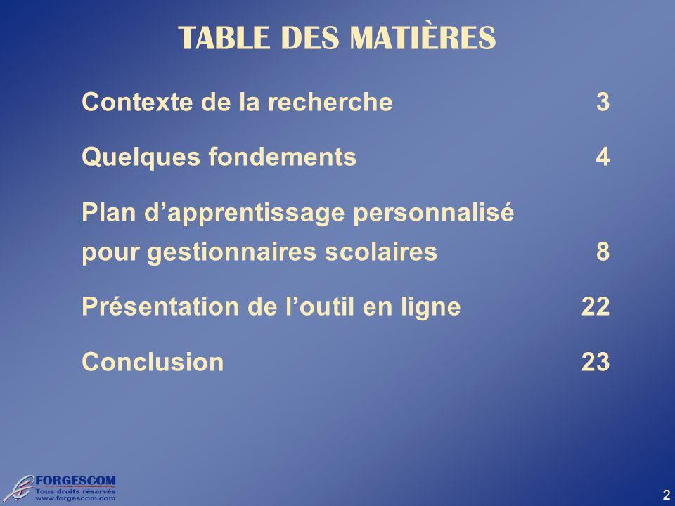 2 TABLE DES MATIÈRES Contexte de la recherche3 Quelques fondements4 Plan dapprentissage personnalisé pour gestionnaires scolaires8 Présentation de lou