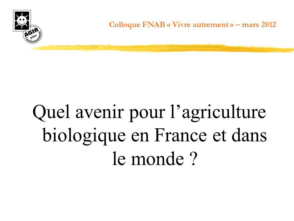 Quel avenir pour lagriculture biologique en France et dans le monde ? Colloque FNAB « Vivre autrement » – mars 2012
