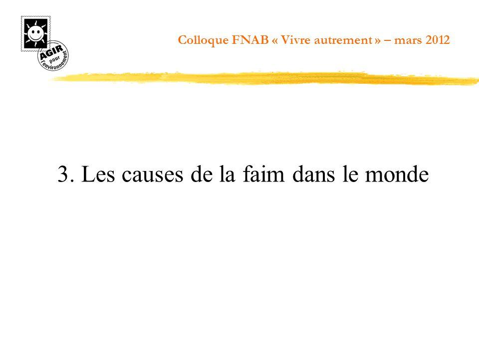 3. Les causes de la faim dans le monde Colloque FNAB « Vivre autrement » – mars 2012