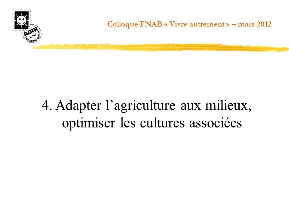 4. Adapter lagriculture aux milieux, optimiser les cultures associées Colloque FNAB « Vivre autrement » – mars 2012