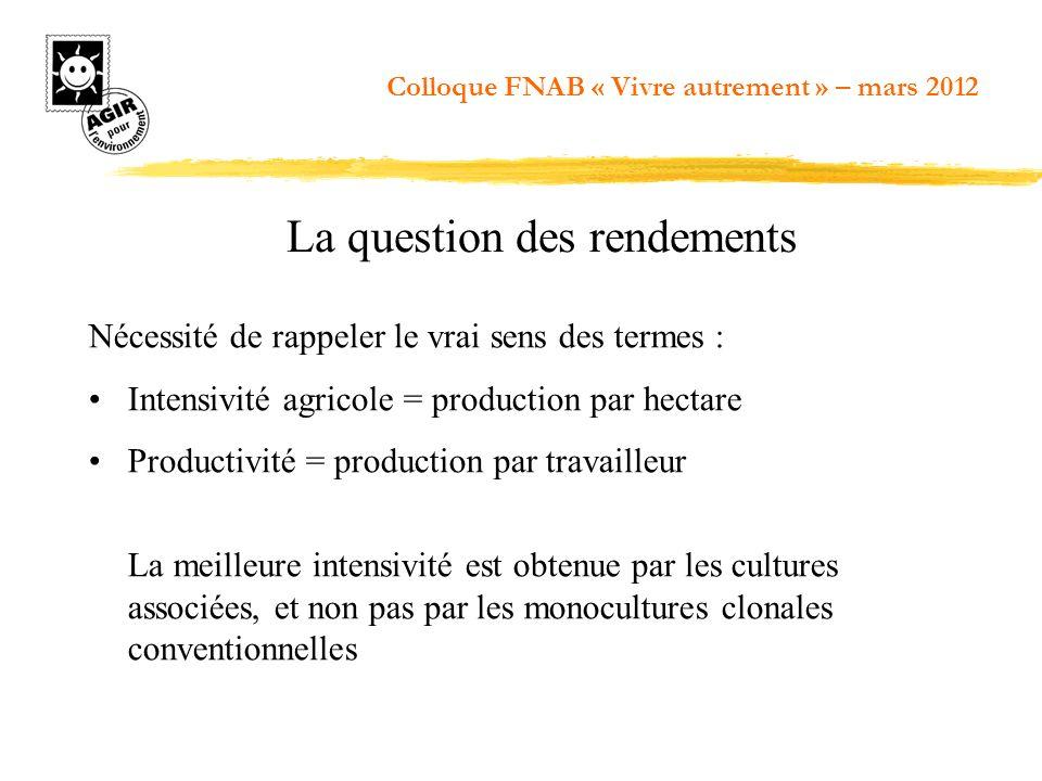 Nécessité de rappeler le vrai sens des termes : Intensivité agricole = production par hectare Productivité = production par travailleur La meilleure i