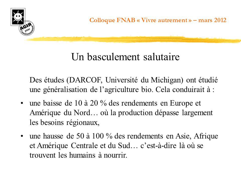 Des études (DARCOF, Université du Michigan) ont étudié une généralisation de lagriculture bio. Cela conduirait à : une baisse de 10 à 20 % des rendeme