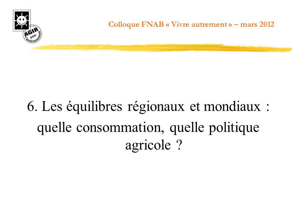 6. Les équilibres régionaux et mondiaux : quelle consommation, quelle politique agricole ? Colloque FNAB « Vivre autrement » – mars 2012