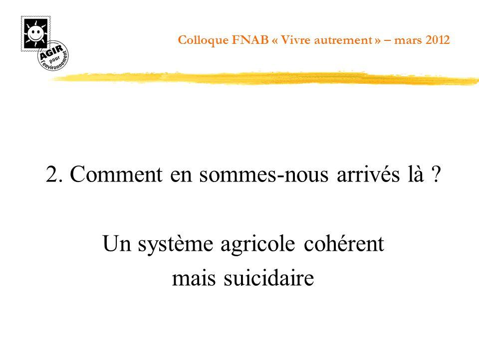 2. Comment en sommes-nous arrivés là ? Un système agricole cohérent mais suicidaire Colloque FNAB « Vivre autrement » – mars 2012