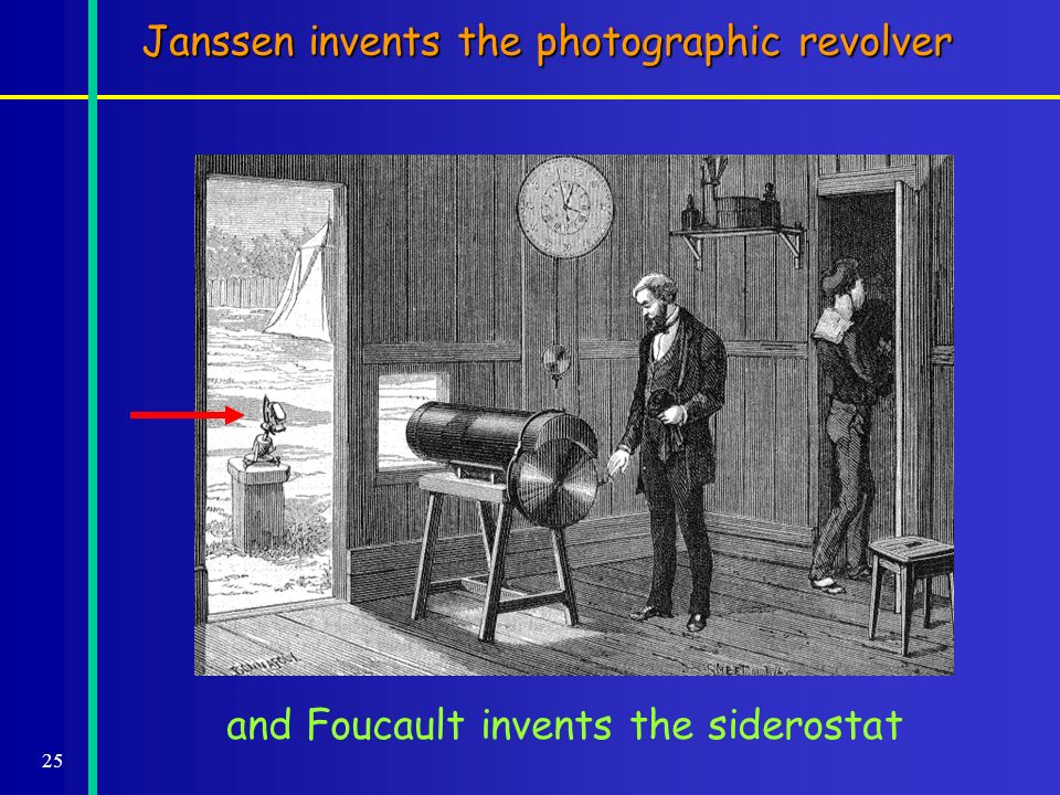 25 and Foucault invents the siderostat Janssen invents the photographic revolver
