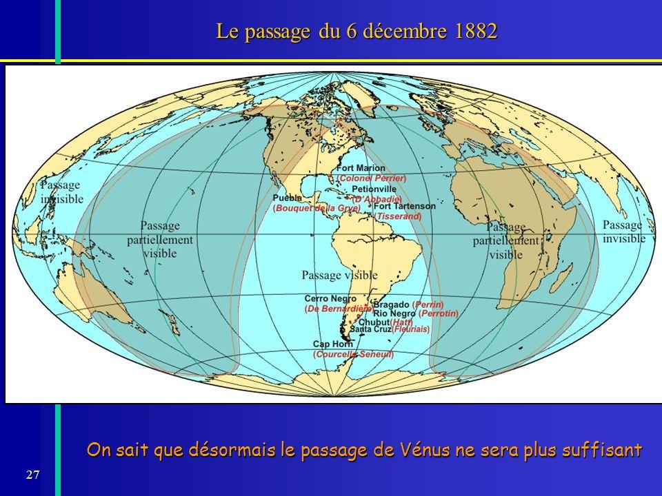 27 Le passage du 6 décembre 1882 On sait que désormais le passage de Vénus ne sera plus suffisant