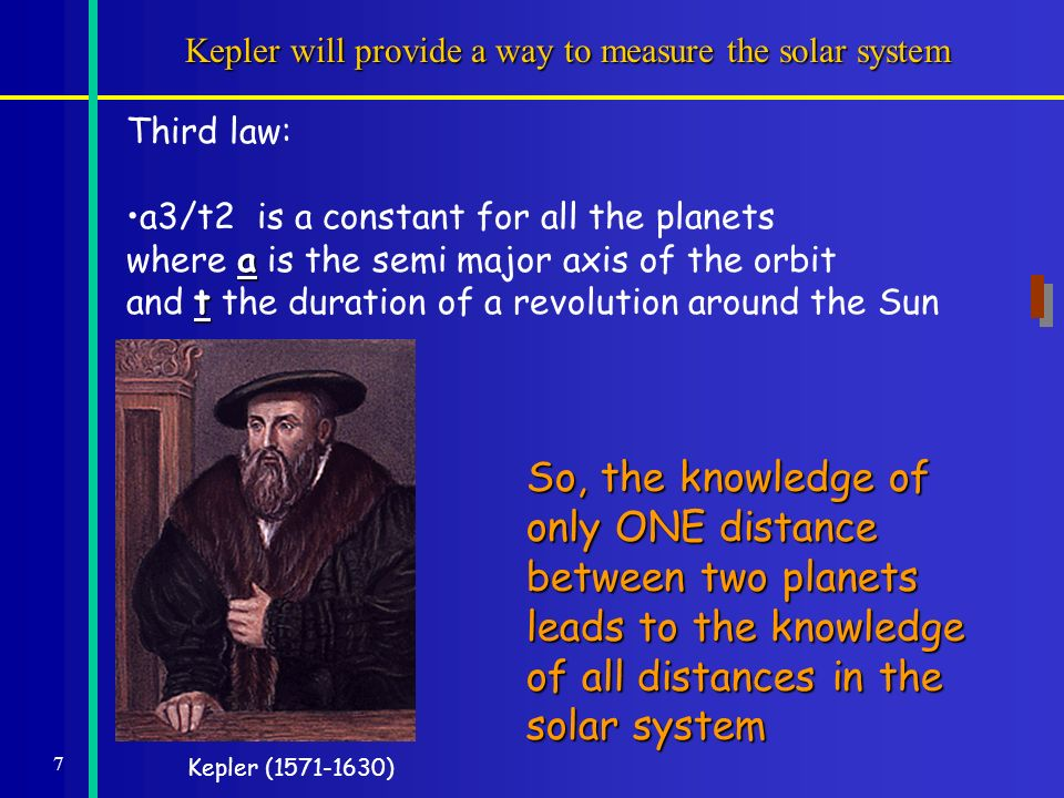 7 Kepler will provide a way to measure the solar system Kepler (1571-1630) Third law: a3/t2 is a constant for all the planets a where a is the semi major axis of the orbit t and t the duration of a revolution around the Sun So, the knowledge of only ONE distance between two planets leads to the knowledge of all distances in the solar system