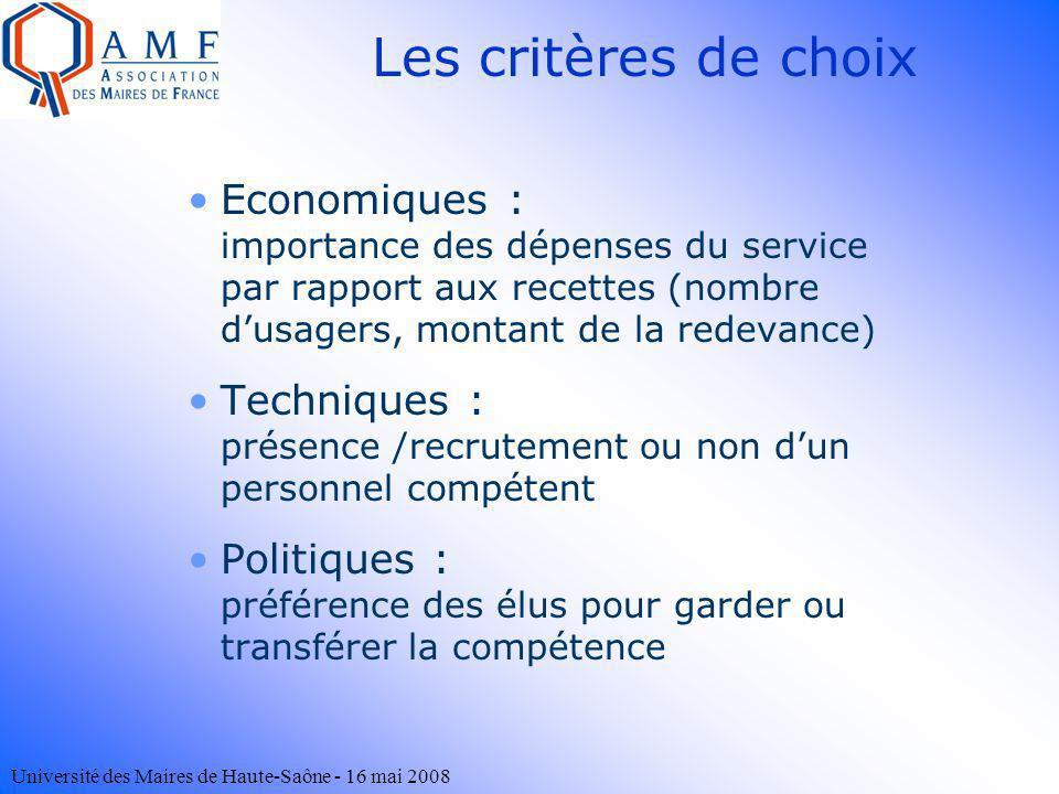 Université des Maires de Haute-Saône - 16 mai 2008 Les critères de choix Economiques : importance des dépenses du service par rapport aux recettes (no
