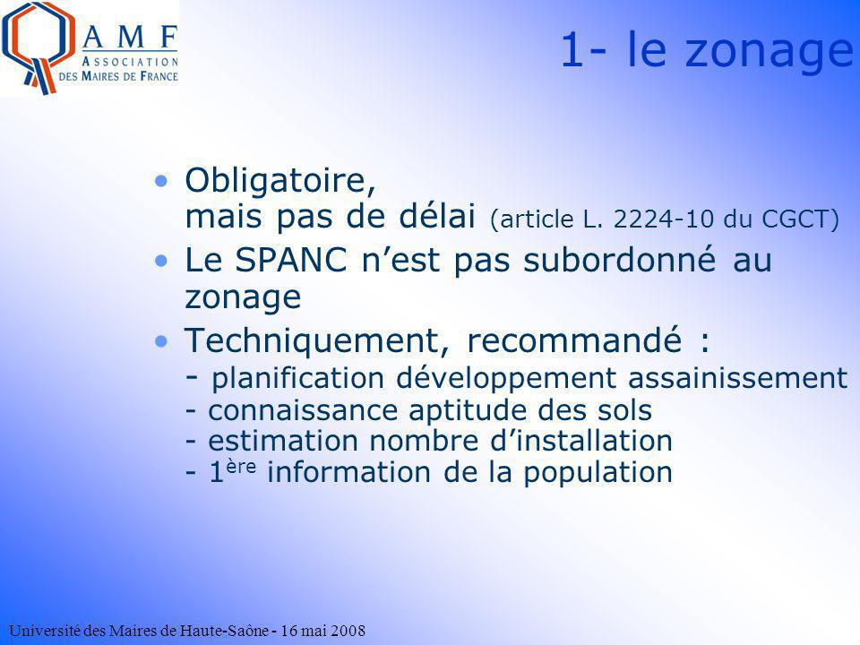 Université des Maires de Haute-Saône - 16 mai 2008 1- le zonage Obligatoire, mais pas de délai (article L. 2224-10 du CGCT) Le SPANC nest pas subordon