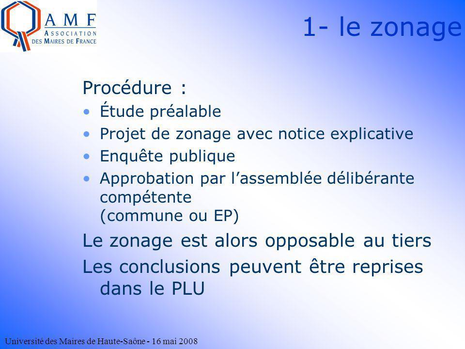 Université des Maires de Haute-Saône - 16 mai 2008 Procédure : Étude préalable Projet de zonage avec notice explicative Enquête publique Approbation p