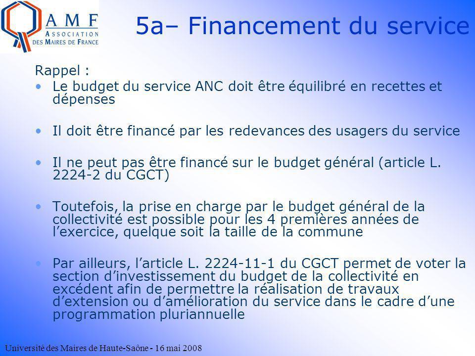 Université des Maires de Haute-Saône - 16 mai 2008 5a– Financement du service Rappel : Le budget du service ANC doit être équilibré en recettes et dép
