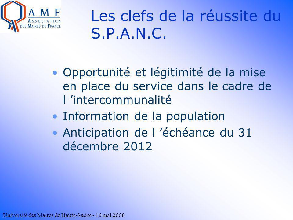 Université des Maires de Haute-Saône - 16 mai 2008 Les clefs de la réussite du S.P.A.N.C. Opportunité et légitimité de la mise en place du service dan