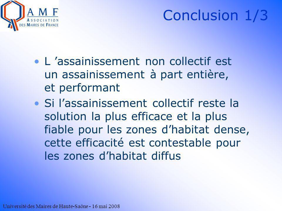Université des Maires de Haute-Saône - 16 mai 2008 Conclusion 1/3 L assainissement non collectif est un assainissement à part entière, et performant S