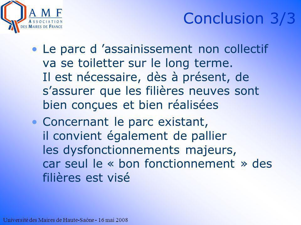 Université des Maires de Haute-Saône - 16 mai 2008 Conclusion 3/3 Le parc d assainissement non collectif va se toiletter sur le long terme. Il est néc