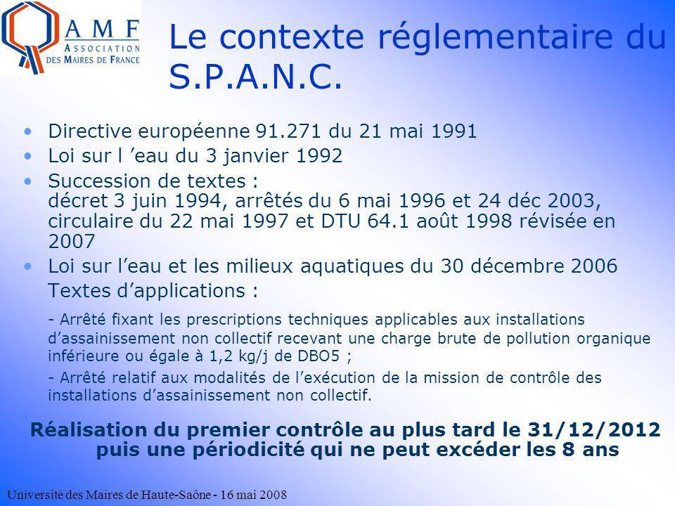 Université des Maires de Haute-Saône - 16 mai 2008 Le contexte réglementaire du S.P.A.N.C. Directive européenne 91.271 du 21 mai 1991 Loi sur l eau du