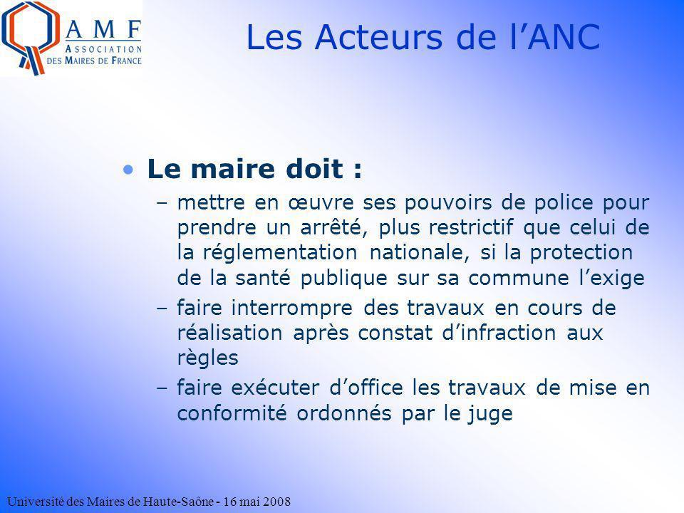 Université des Maires de Haute-Saône - 16 mai 2008 Le maire doit : –mettre en œuvre ses pouvoirs de police pour prendre un arrêté, plus restrictif que