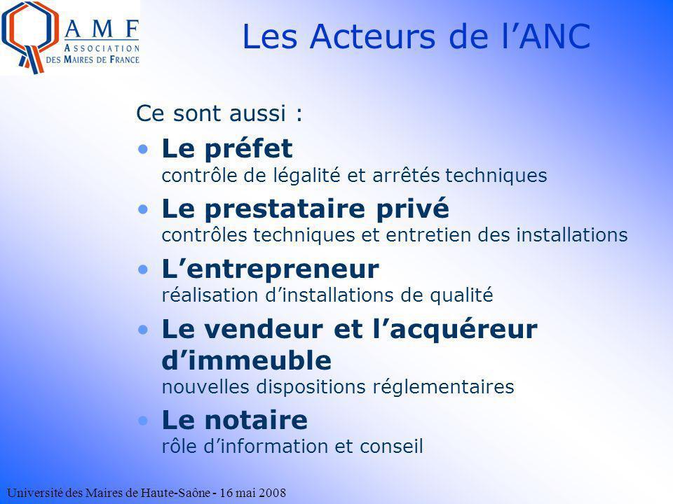 Université des Maires de Haute-Saône - 16 mai 2008 Ce sont aussi : Le préfet contrôle de légalité et arrêtés techniques Le prestataire privé contrôles