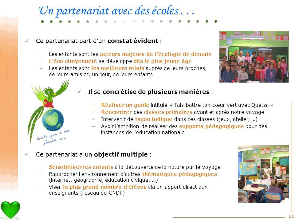 11 Ce partenariat a un objectif multiple : –Sensibiliser les enfants à la découverte de la nature par le voyage –Rapprocher lenvironnement dautres thé