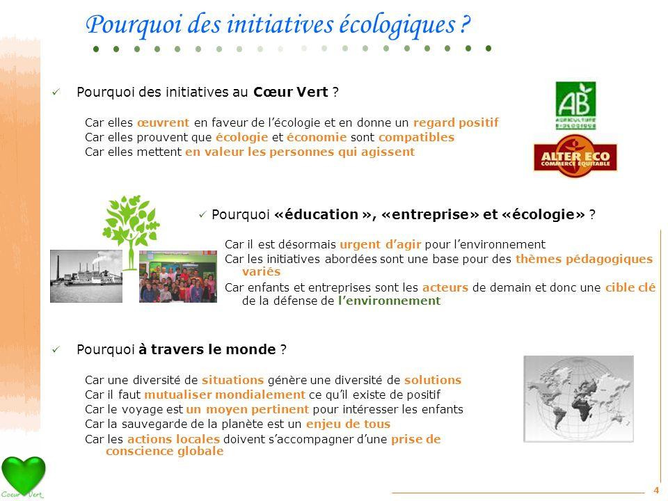 4 Pourquoi des initiatives au Cœur Vert ? Car elles œuvrent en faveur de lécologie et en donne un regard positif Car elles prouvent que écologie et éc