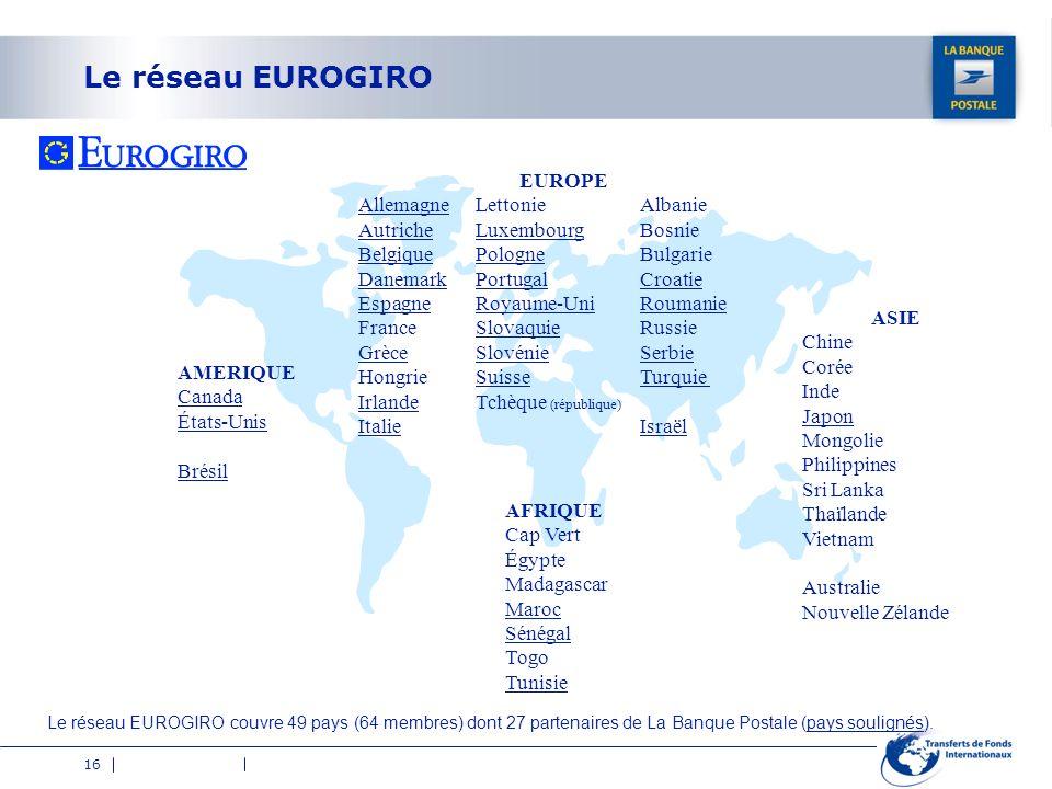 16 Le réseau EUROGIRO AMERIQUE Canada États-Unis Brésil Allemagne Autriche Belgique Danemark Espagne France Grèce Hongrie Irlande Italie Albanie Bosni