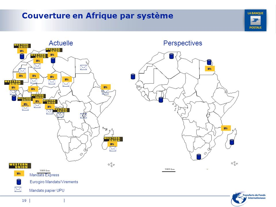 19 Couverture en Afrique par système IFS Eurogiro Mandats/Virements Mandats papier UPU Mandats Express ActuellePerspectives IFS IFS IFS IFS IFS IFS IF