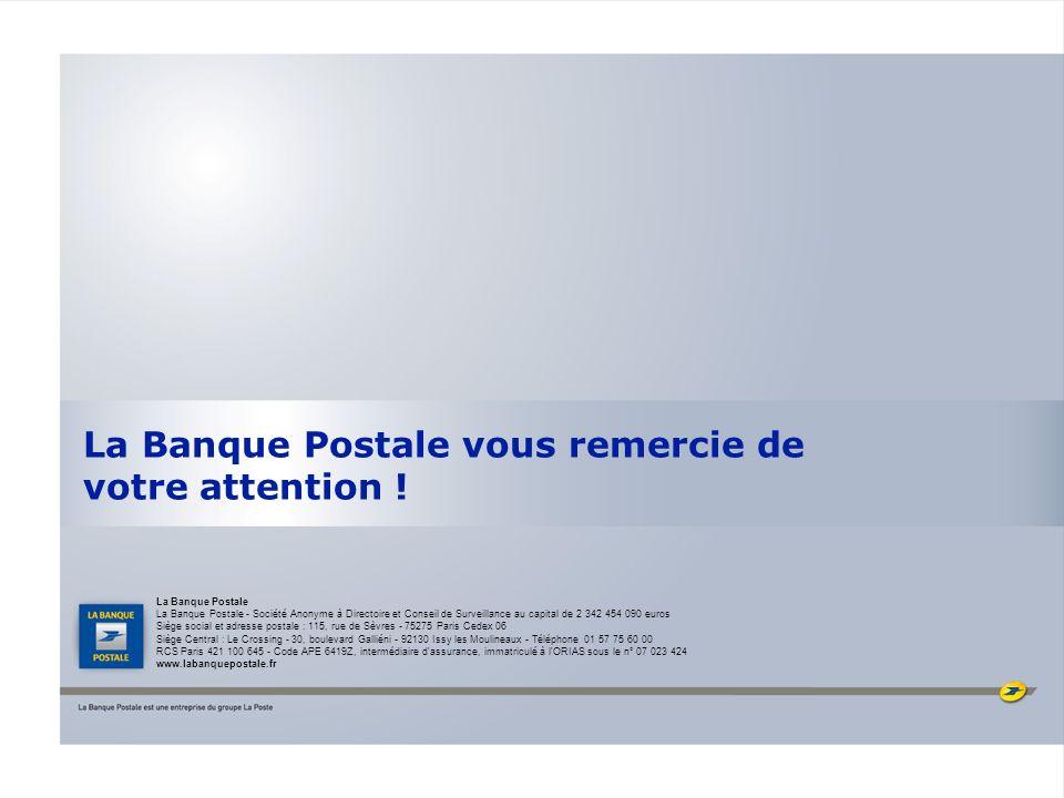 La Banque Postale vous remercie de votre attention ! La Banque Postale La Banque Postale - Société Anonyme à Directoire et Conseil de Surveillance au