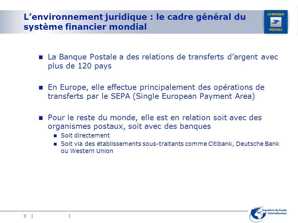 3 Lenvironnement juridique : le cadre général du système financier mondial La Banque Postale a des relations de transferts dargent avec plus de 120 pa