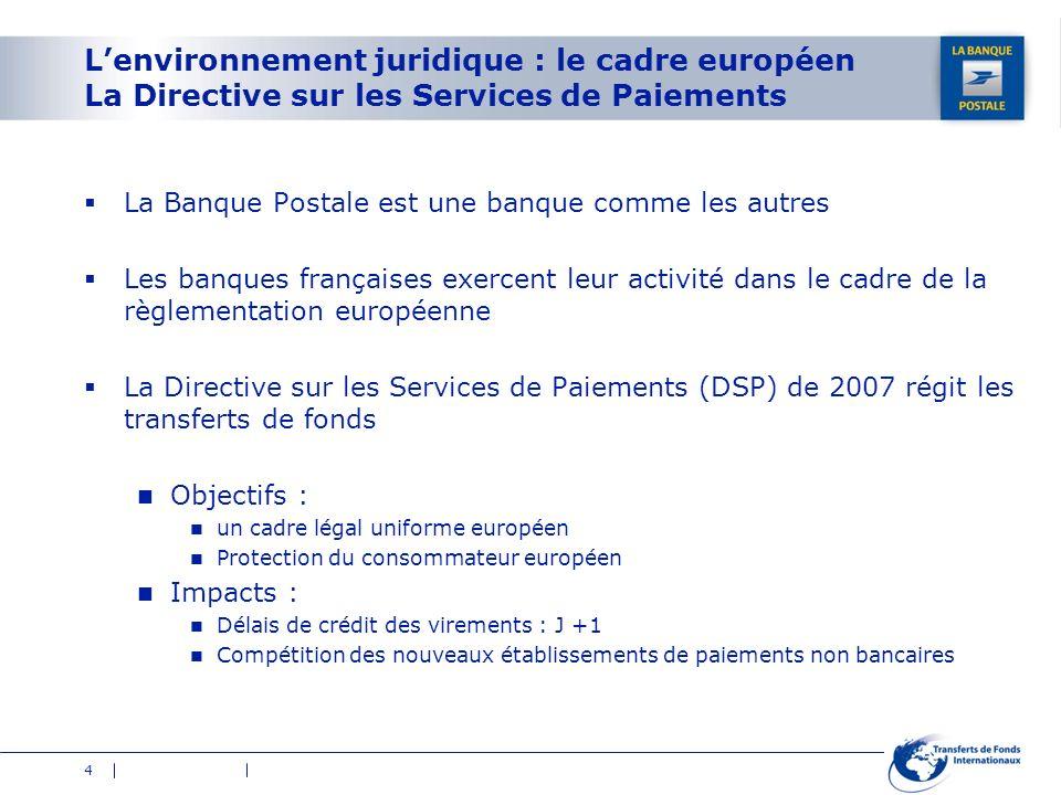 4 Lenvironnement juridique : le cadre européen La Directive sur les Services de Paiements La Banque Postale est une banque comme les autres Les banque