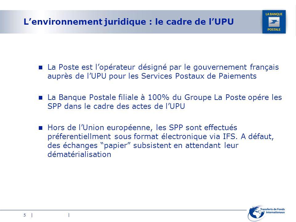 5 Lenvironnement juridique : le cadre de lUPU La Poste est lopérateur désigné par le gouvernement français auprès de lUPU pour les Services Postaux de