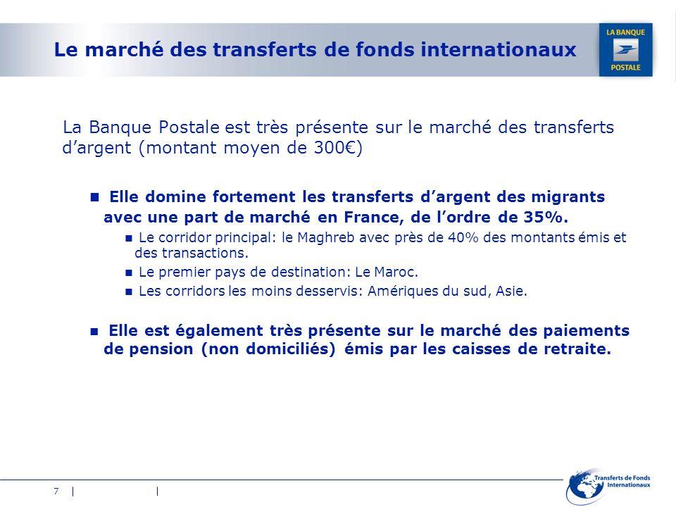 7 Le marché des transferts de fonds internationaux La Banque Postale est très présente sur le marché des transferts dargent (montant moyen de 300) Ell