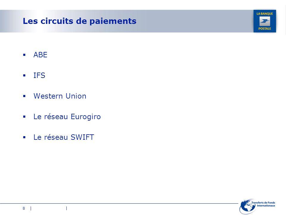 8 Les circuits de paiements ABE IFS Western Union Le réseau Eurogiro Le réseau SWIFT