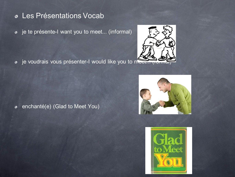 Les Présentations Vocab je te présente-I want you to meet...