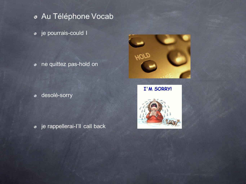 Au Téléphone Vocab je pourrais-could I ne quittez pas-hold on desolé-sorry je rappellerai-Ill call back