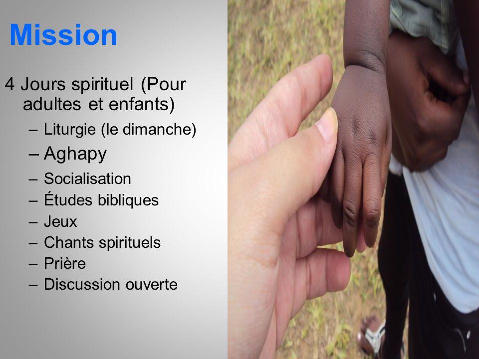 Mission 4 Jours spirituel (Pour adultes et enfants) –Liturgie (le dimanche) –Aghapy –Socialisation –Études bibliques –Jeux –Chants spirituels –Prière