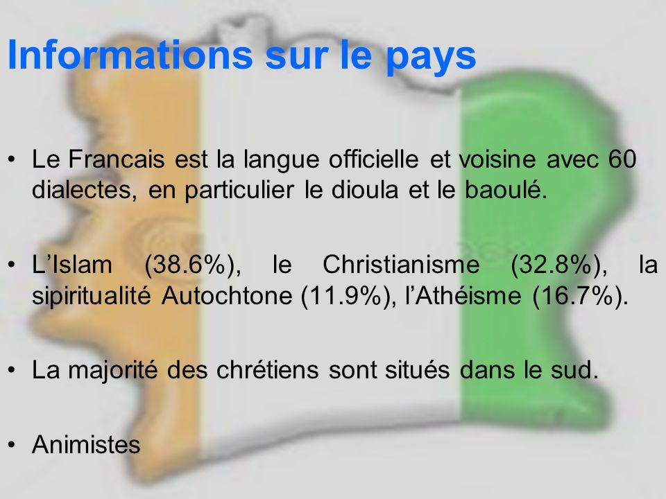 Informations sur le pays Le Francais est la langue officielle et voisine avec 60 dialectes, en particulier le dioula et le baoulé. LIslam (38.6%), le