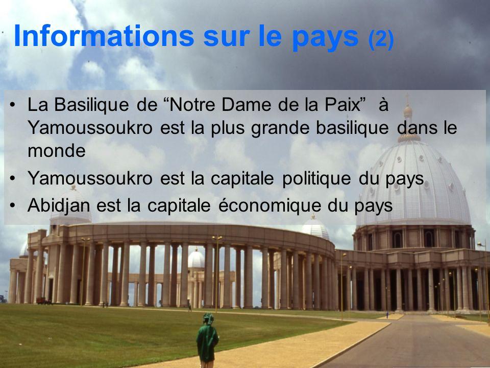 La Basilique de Notre Dame de la Paix à Yamoussoukro est la plus grande basilique dans le monde Yamoussoukro est la capitale politique du pays Abidjan