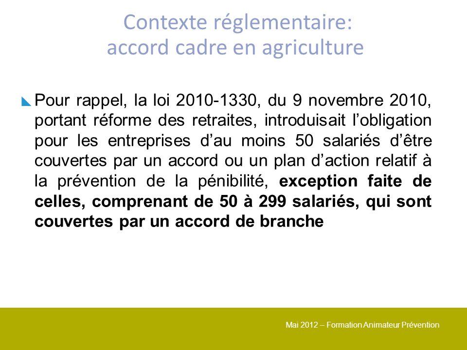 Mai 2012 – Formation Animateur Prévention Pour rappel, la loi 2010-1330, du 9 novembre 2010, portant réforme des retraites, introduisait lobligation p